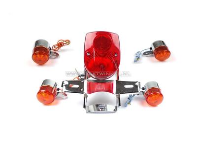 Achterlicht en knipperlicht set, Dax old style, rood