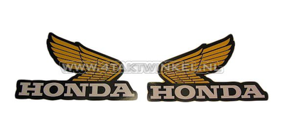 Sticker Honda wing, geel set middel links & rechts, origineel Honda