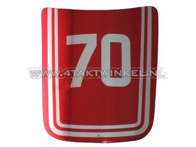 Sticker C70 OT front, schildje, rood, origineel Honda, NOS