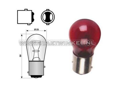 Achterlamp duplo BAY15D,  6 volt, 21-5 watt, rood