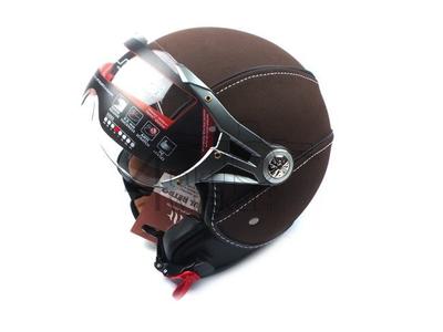 Helm MT, Le Mans Soul Retro, leder bruin, Maten XS t/m XXL