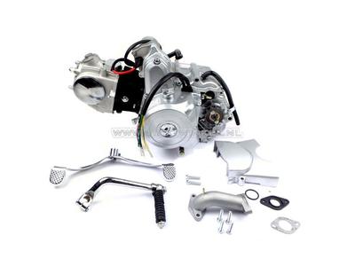 Motorblok,  50cc, handkoppeling, startmotor boven, zilver