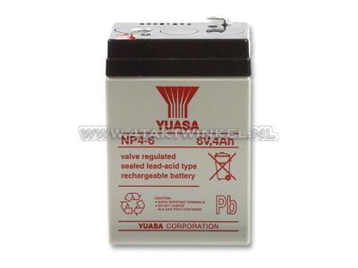 Accu 6 volt 4 ampere, SS50, Dax, gel, universeel, Yuasa