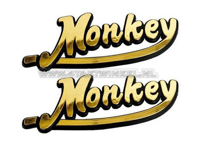 Embleem Monkey, set, goud
