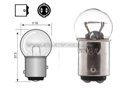 Achterlamp duplo BAY15D, 12 volt, 21-5, watt, klein bolletje