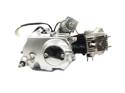 Motorblok,  50cc, handkoppeling, 4-bak, startmotor boven, zilver
