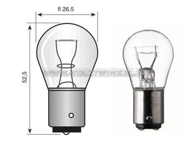 Lamp BA15-S, enkel, 12 volt, 21 watt groot bolletje
