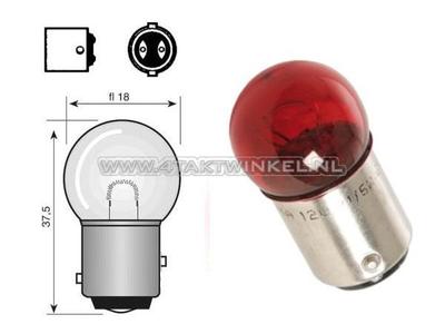 Achterlamp duplo BAY15D,  6 volt, 18-5 watt, klein bolletje, rood