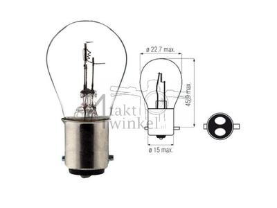 Koplamp BAX15D, duplo,  6 volt, 15-15 watt, o.a. SS50, CD50