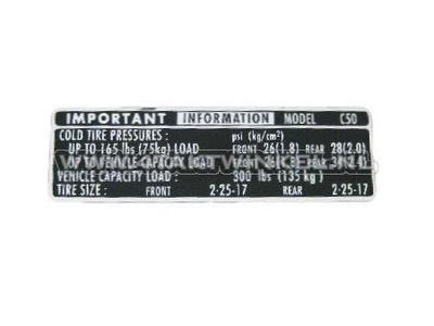 Sticker C50 kettingkast banden informatie