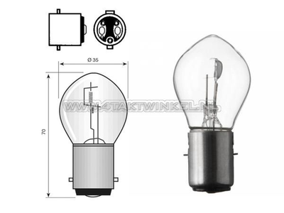 Koplamp BA20d, duplo,  6 volt, 15-15 watt, o.a. Dax