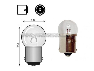 Lamp BA15-S, enkel, 12 volt, 15 watt klein bolletje