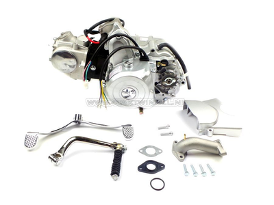 Motorblok,  70cc, handkoppeling, 4-bak, startmotor boven, zilver