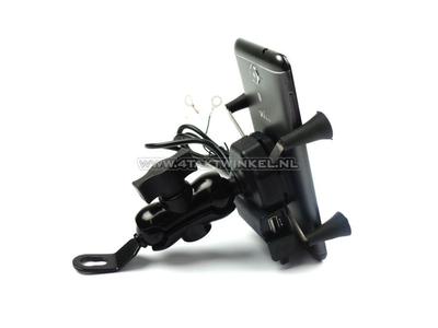 USB lader, telefoon houder, voor 12 volt brommer