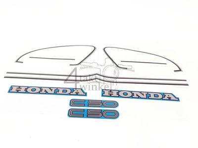 Sticker C50c, set, tank en zijkapjes, blauw