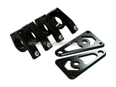 Koplamporen, universeel, CNC aluminium, 26mm, zwart