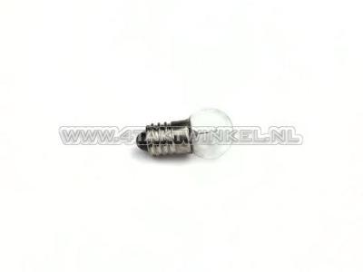 Lamp E10 schroef fitting, enkel,  6 volt, 3 watt