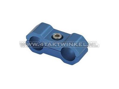 Kabel binder / klem, 6mm, aluminium, blauw