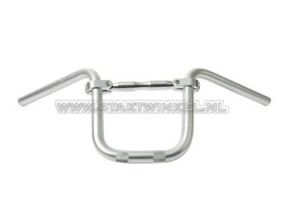 Stuur aluminium met spijl 210mm hoog, zilver
