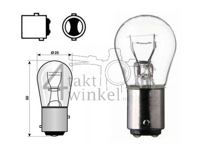 Achterlamp duplo BAY15D,  6 volt, 18-5 watt