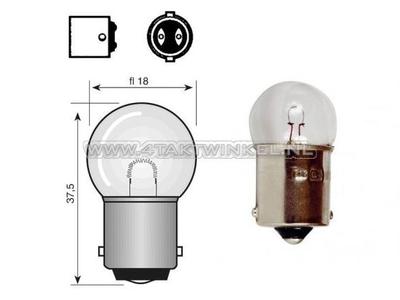 Lamp BA15-S, enkel, 12 volt,  8 watt klein bolletje