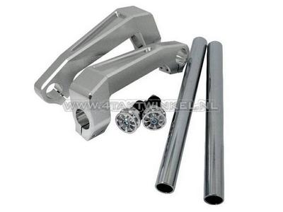 Stuur aluminium, voorvork montage, Dax, Monkey, 26mm, zilver