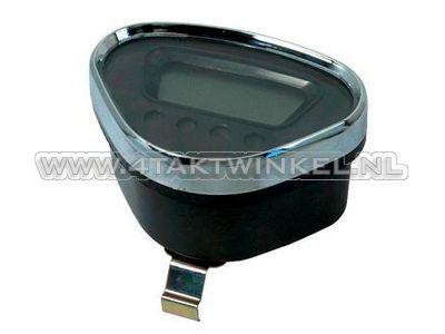 Teller Dax digitaal, zwart met chromen rand