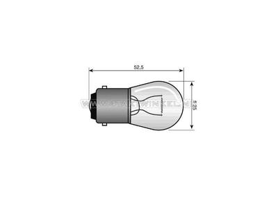 Lamp BA15-S, enkel, 12 volt, 15 watt middelgroot bolletje