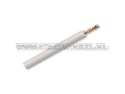 Draad per meter 0,75mm2, wit