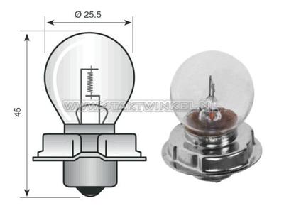 Koplamp P26S, duplo,  6 volt, 15-15 watt, o.a. CB50, CY50