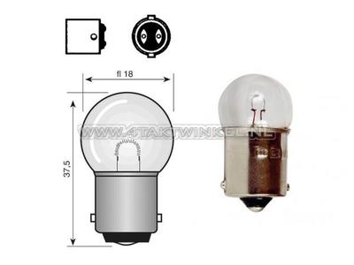 Lamp BA15-S, enkel,  6 volt, 10 watt klein bolletje