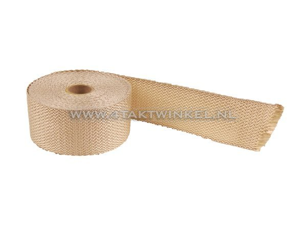 Uitlaat-heat-wrap,-50mm-x-10m,-beige