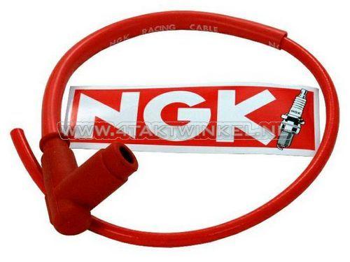 Bougiedop-NGK-met-kabel,-racing-rood
