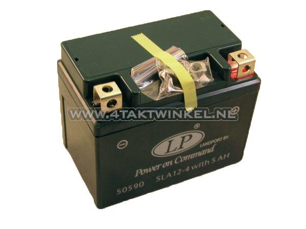 Accu-12-volt-5-ampere-Landport,-SLA12-4.-Maat-=-4-ampere-CTX-4L-BS
