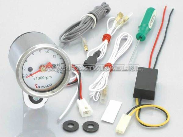 Toerenteller-Kitaco-48mm-chroom,-elektronisch