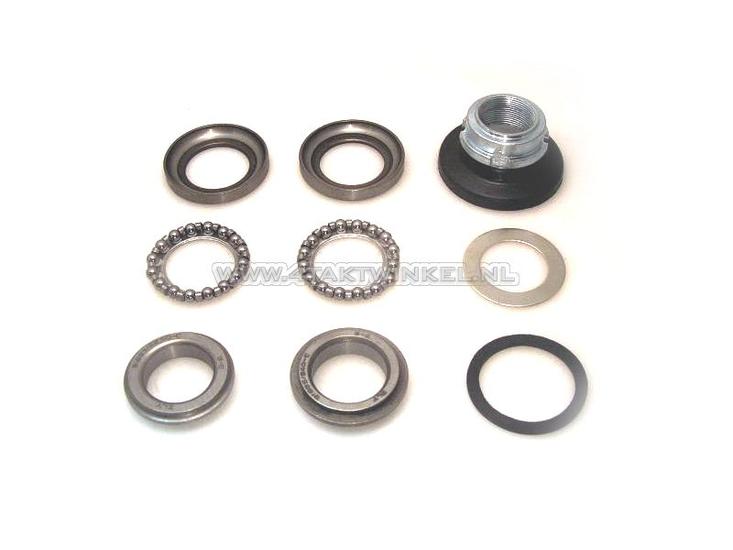 Balhoofdlager-set,-SS50,-CD50,-Dax,-CB50,-kogel-ringen-&-stelmoer