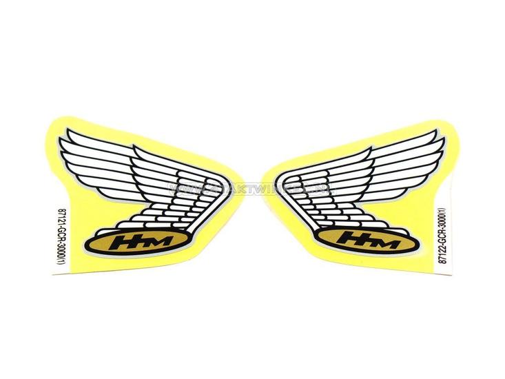 Sticker-Honda-wing,-zilver-lijntje-set-links-&-rechts,-origineel-Honda
