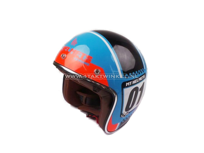 Helm Le Mans, Numberplate Blauw (maat S,M,L,XL)