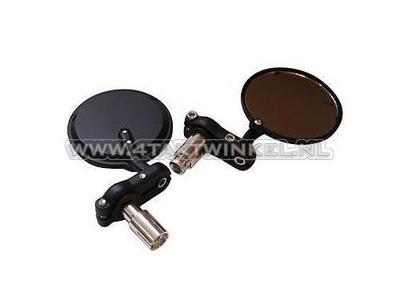 Spiegel Zwart Rond : Spiegel set bar end rond zwart met steuntjes taktwinkel
